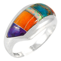 Sterling Silver Ring Multi Gemstone R2273-C01