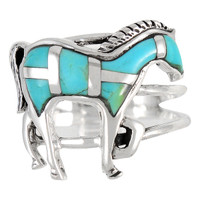 Sterling Silver Horse Ring Turquoise R2018-C05