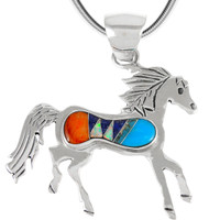 Sterling Silver Horse Pendant Multi Gemstone P3267-C01