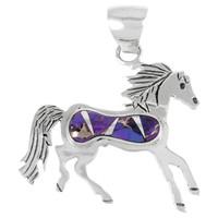 Sterling Silver Horse Pendant Purple Turquoise P3267-C07