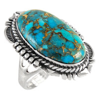 Sterling Silver Ring Matrix Turquoise R2315-C84