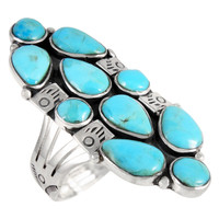 Sterling Silver Ring Turquoise R2428-C75