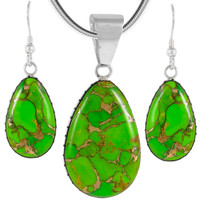 Sterling Silver Pendant & Earrings Set Green Turquoise PE4056-C76