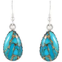 Sterling Silver Earrings Matrix Turquoise E1261-C84