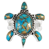 Sterling Silver Turtle Ring Matrix Turquoise R2236-C84