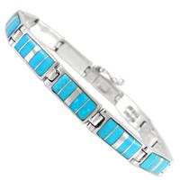 Sterling Silver Link Bracelet Turquoise B5483-C05
