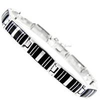 Sterling Silver Link Bracelet Black B5483-C11