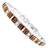 Sterling Silver Link Bracelet Tiger Eye B5483-C18