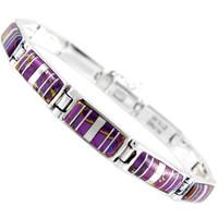 Sterling Silver Link Bracelet Purple Turquoise B5483-C07