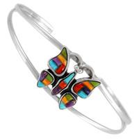 Sterling Silver Butterfly Bracelet Multi Gemstone B5545-SM-C51