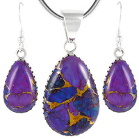 Sterling Silver Pendant & Earrings Set Purple Turquoise PE4056-C77