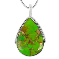 Sterling Silver Pendant Green Turquoise P3075-C76