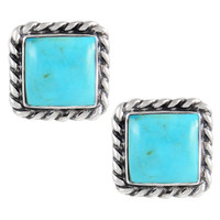 Sterling Silver Earrings Turquoise E1263-C75