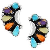 Sterling Silver Earrings Multi Gemstones E1264-C71