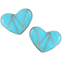 Sterling Silver Heart Earrings Turquoise E1265-C05