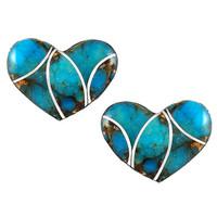 Sterling Silver Heart Earrings Matrix Turquoise E1265-C84