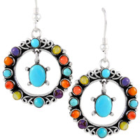 Sterling Silver Earrings Multi Gemstones E1267-C71