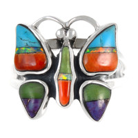 Sterling Silver Butterfly Ring Multi Gemstone R2037-C01
