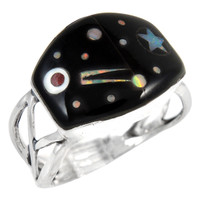 Sterling Silver Ring Black & Opal R2430-C27