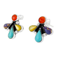 Sterling Silver Earrings Multi Gemstone E1273-C71