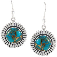 Sterling Silver Earrings Matrix Turquoise E1268-C84