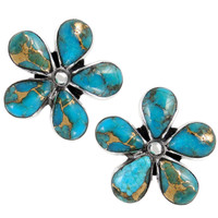 Sterling Silver Earrings Matrix Turquoise E1272-C84