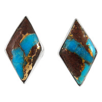 Sterling Silver Earrings Lava Rock Turquoise E1274-C95