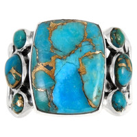 Sterling Silver Ring Matrix Turquoise R2435-C84