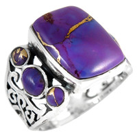 Sterling Silver Ring Purple Turquoise R2435-C77