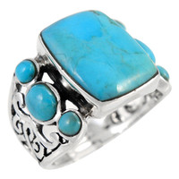 Sterling Silver Ring Turquoise R2435-C75