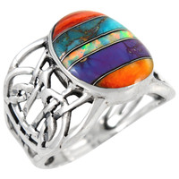 Sterling Silver Ring Multi Gemstone R2437-C00