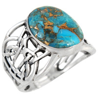 Sterling Silver Ring Matrix Turquoise R2437-C84