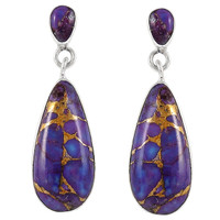Sterling Silver Earrings Purple Turquoise E1258-C77