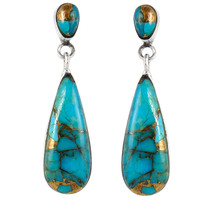 Sterling Silver Earrings Matrix Turquoise E1258-C84