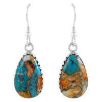 Sterling Silver Earrings Spiny Turquoise E1261-C89