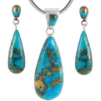 Sterling Silver Pendant & Earrings Set Matrix Turquoise PE4014-C84