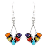 Sterling Silver Earrings Multi Gemstones E1276-C71