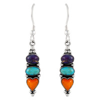 Sterling Silver Earrings Multi Gemstones E1278-C71