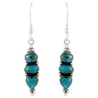 Sterling Silver Earrings Matrix Turquoise E1278-C84