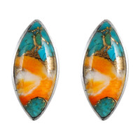 Sterling Silver Earrings Spiny Turquoise E1275-C89