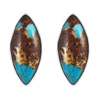 Sterling Silver Earrings Lava Rock Turquoise E1275-C95