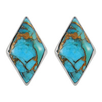 Sterling Silver Earrings Matrix Turquoise E1274-C84