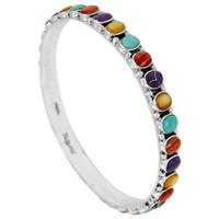 Sterling Silver Bangle Bracelet Multi Gemstone B5551B-C71
