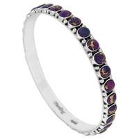 Sterling Silver Bangle Bracelet Purple Turquoise B5551B-C77