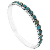 Sterling Silver Bangle Bracelet Matrix Turquoise B5551B-C84