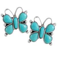 Sterling Silver Butterfly Earrings Turquoise E1279-C75