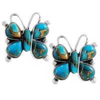 Sterling Silver Butterfly Earrings Matrix Turquoise E1279-C84