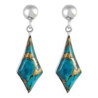Sterling Silver Earrings Matrix Turquoise E1277-C84