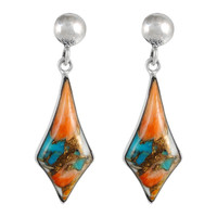 Sterling Silver Earrings Spiny Turquoise E1277-C89