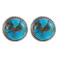Sterling Silver Earrings Matrix Turquoise E1262-C84